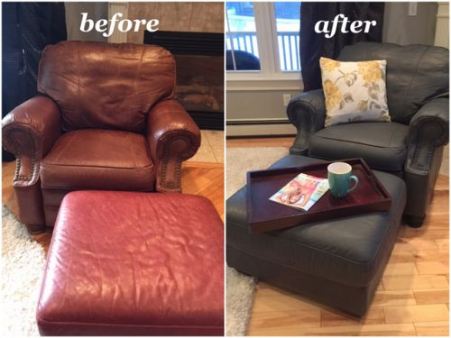 Before and after photos of a chair recolored with Rub n Restore