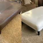 Brown leather ottoman recolored from brown to white.