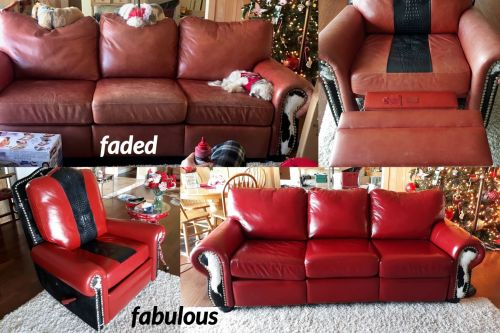Faded leather couch restored with red chili color. Before and after.