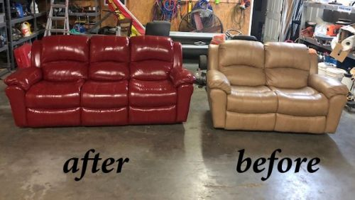 Before and after photo of tan leather furniture recolored to red chili.