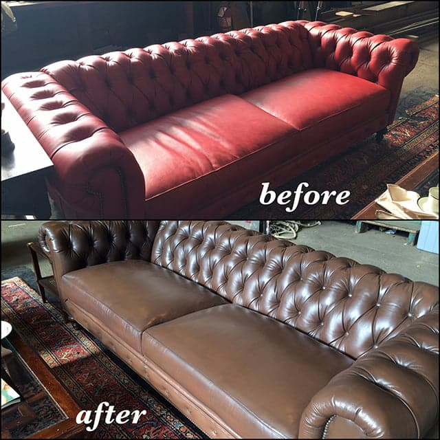 Before and after photo of a couch changed from red to walnut color