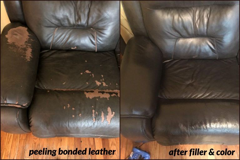 Repaired peeling bonded leather with filler and color.