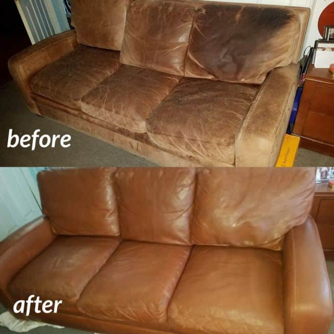 Before and after photo of rust color used to restore a leather couch.