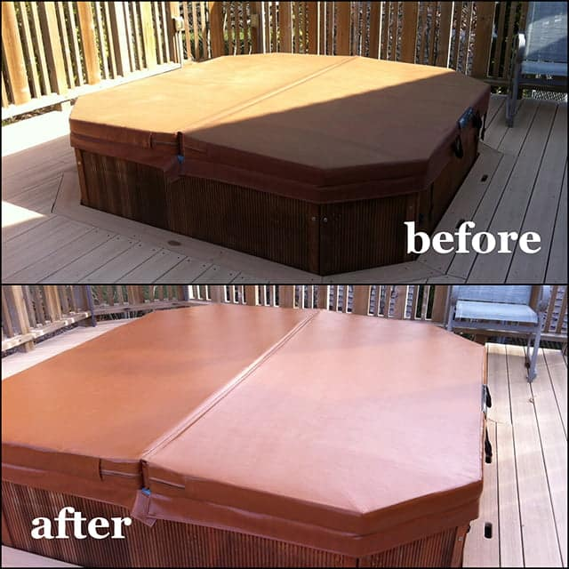 Hot tub cover recolored with Rub n Restore dye