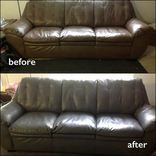 Before and after a couch has been restored with slate color