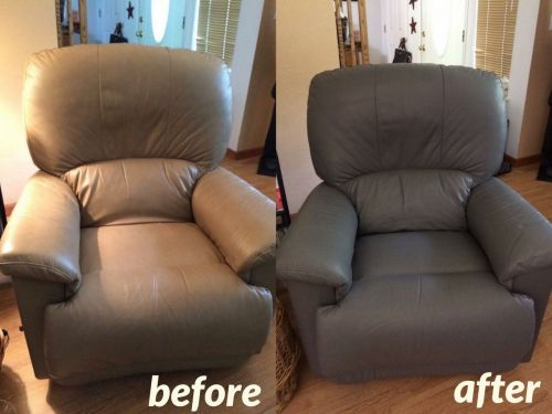 Before and after photo of leather chair recolored from light to dark grey.