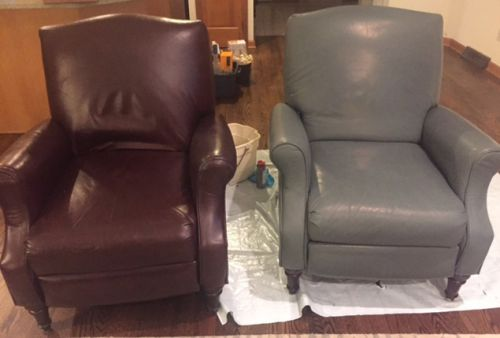 Before and after photos of armchair recolored