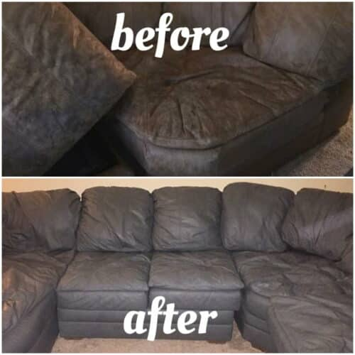 Before and after photos of leather sectional recolored