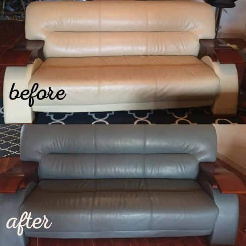 Before and after photo of a tan leather couch that has been recolored to dark grey.