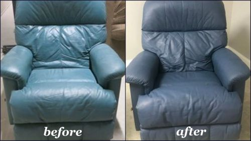 Before and after recliner restored with stone blue color.