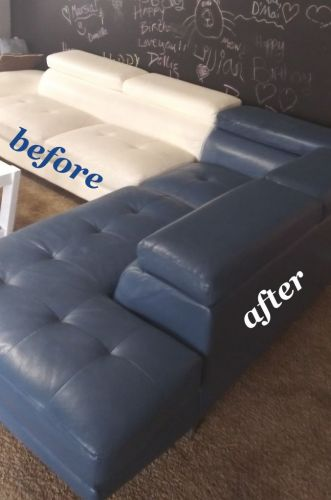 Sectional recolored from white to storm blue.