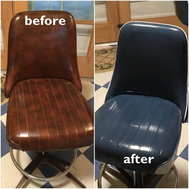 Leather chair recolored from brown to storm blue. Before and After.