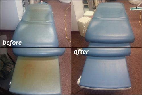 Before and after photo of a medical table restored with blue color.