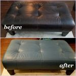 Before and after photo of ottoman that has been recolored.