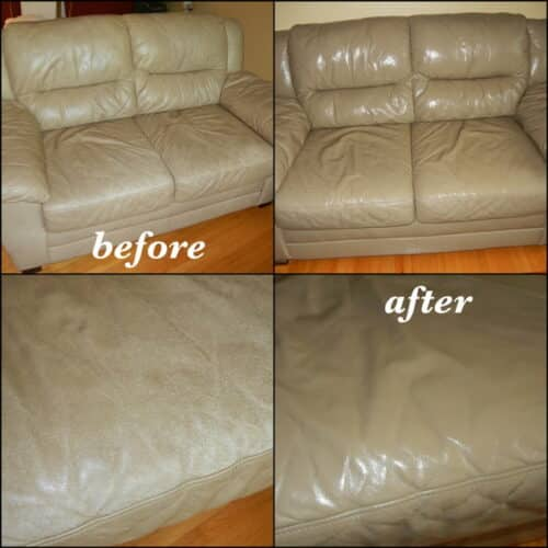 Before and after photo of a couch restored to a taupe color