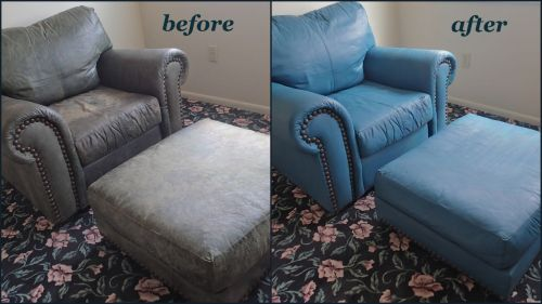 Leather arm chair and ottomon before and after being recolored with turquoise dye.