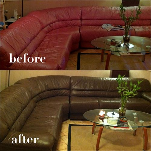 Leather couch Color change from red to walnut, before and after photo