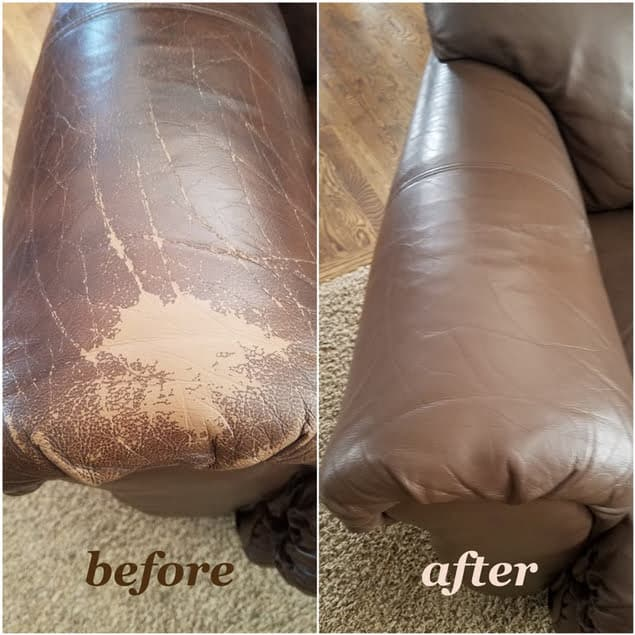 Leather that has been restored with walnut color, before and after