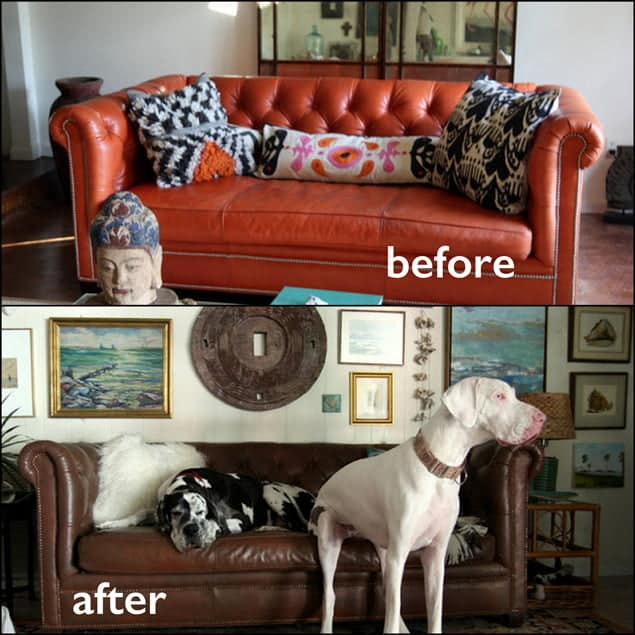Before and after photo of a red couch that has been changed to walnut color