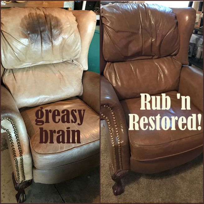 Picture of head oil stain before and after Walnut Rub n Restore leather paint