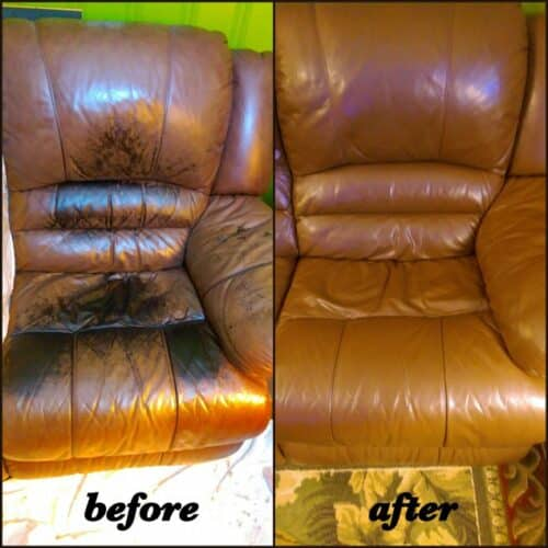 Before and after photo of a chair restored to walnut color.