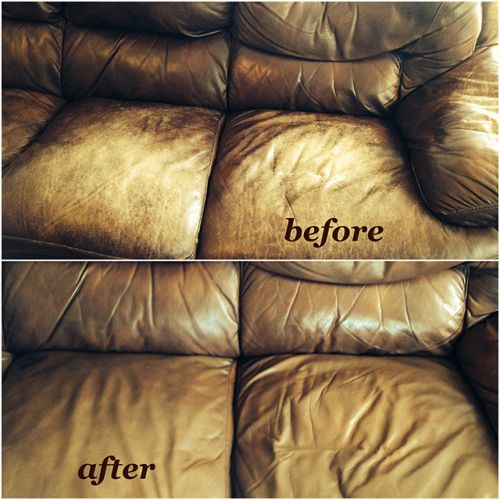 Before and after leather restored with walnut color