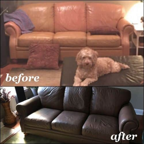 Before and after leather couch recolored from tan to dark walnut.