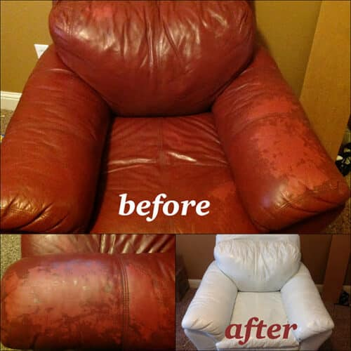 Leather chair color change from red to white