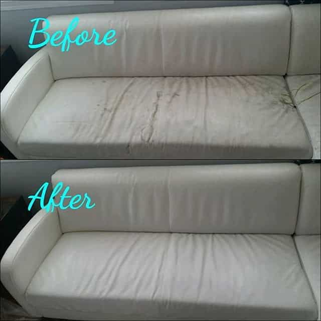 Before-after photo of leather couch restored with Rub n Restore bright white leather dye