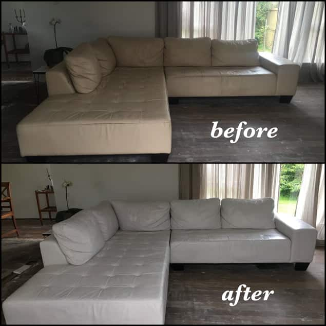 Before-after photo of leather sectional changed to Bright White with Rub n Restore leather dye
