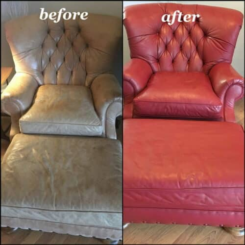 Before and after photo of a chair recolored from red to wine